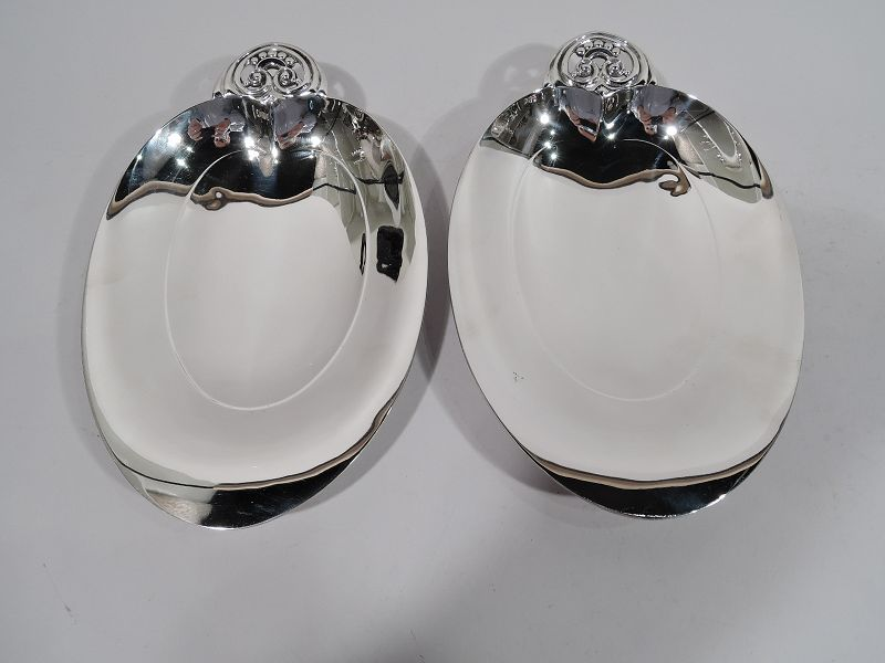 Pair of Tiffany American Modern Sterling Silver Heart Bowls