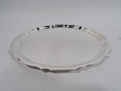 Large Gorham Chippendale Sterling Silver Piecrust Tray