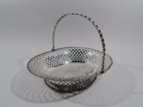 Antique English Georgian Sterling Silver Basket 1752