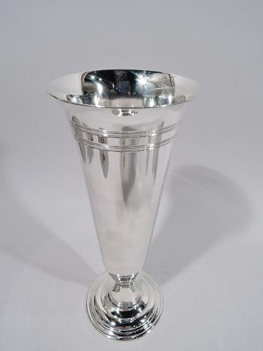 Tiffany American Modern Sterling Silver Trumpet Vase