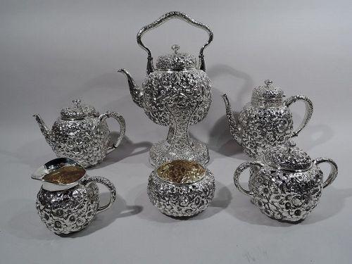 Antique Shiebler Repousse Sterling Silver Coffee & Tea Set C 1900