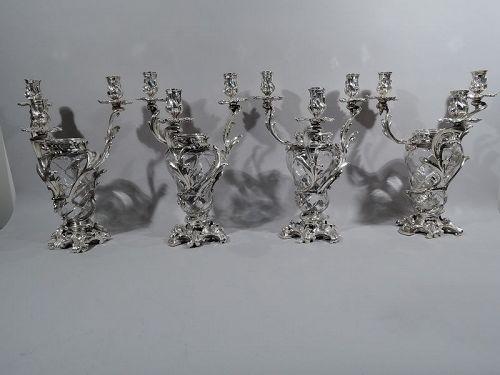 French Belle Epoque Baccarat Crystal & Silver Vase 3-Light Candelabra