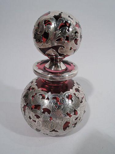 Antique Gorham Art Nouveau Red Silver Overlay Cologne Bottle