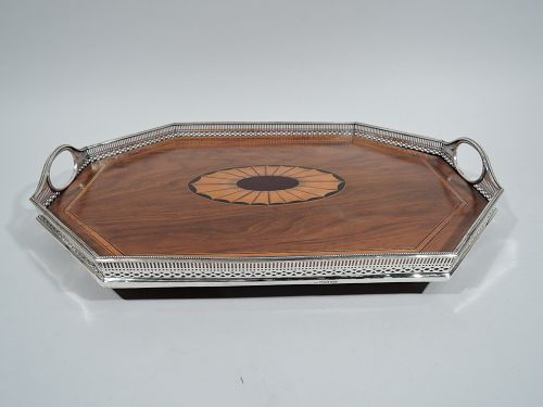 English Victorian Regency Sterling Silver & Marquetry Tray 1882