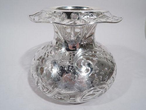 Substantial Black Starr & Frost Art Nouveau Silver Overlay Vase