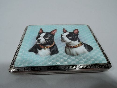 Antique Austrian Silver & Enamel Boston Terrier Dog Cigarette Case