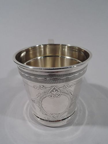 Antique American Aesthetic Coin Silver Baby Cup by Chicago Maker