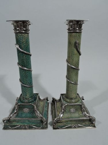 Pair of Antique European Shagreen and Silver Candlesticks C 1880