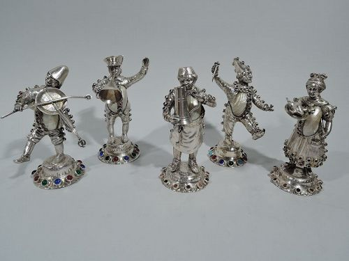 Set of 5 Antique German Jeweled Silver & Shell Country Folk Figures