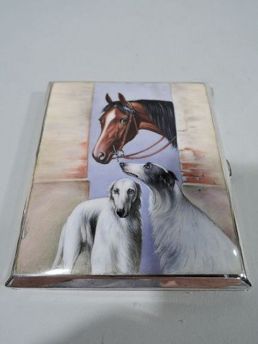 Antique European Silver & Enamel Horse & Case with Borzoi Dogs