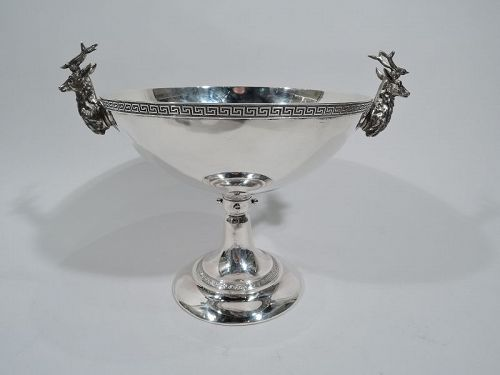 Early Tiffany Sterling Silver Deer Compote with Majestic Stag Antlers