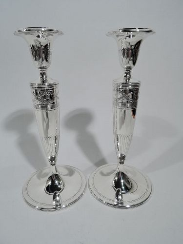 Pair of Antique Tiffany Winthrop Sterling Silver Candlesticks