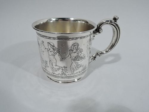 Antique Reed & Barton Sterling Silver Baby Cups with Botticelli Nymphs