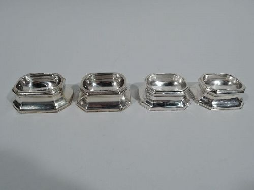 Set of 4 Antique English Early Georgian Sterling Silver Open Salts