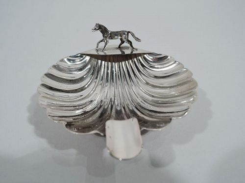 Italian Midcentury Modern Silver Scallop Shell Ashtray with Horse