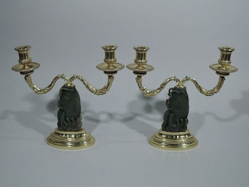 Pair of Fabulous Signed Cartier French Silver Gilt & Jade Candelabra