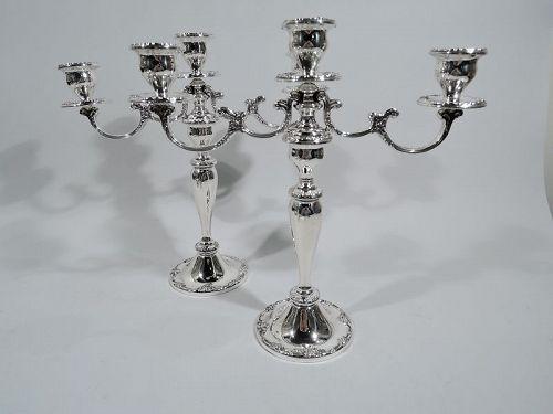 Pair of Gorham Melrose Sterling Silver 3-Light Candelabra