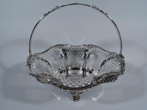 Large Antique American Edwardian Pierced Sterling Silver Basket