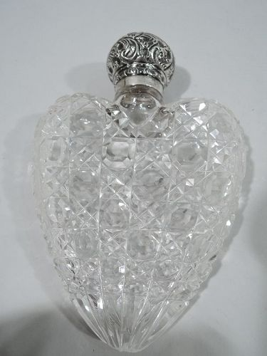 Antique English Victorian Sterling Silver & Cut-Glass Heart Flask