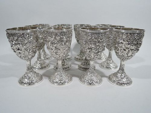 Set of 12 Antique American Repousse Sterling Silver Goblets