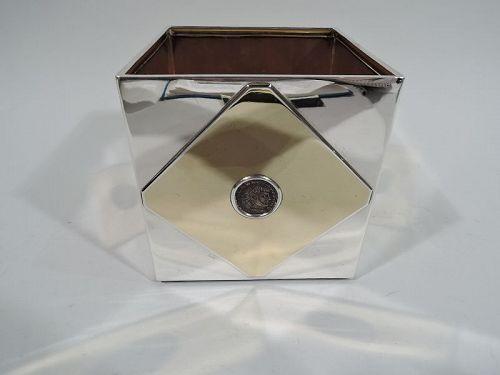 Striking 1970s Bulgari Modern Silver Box with Ancient Roman Coins