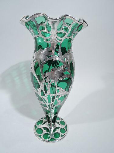 Antique American Art Nouveau Green Daisy Silver Overlay Vase