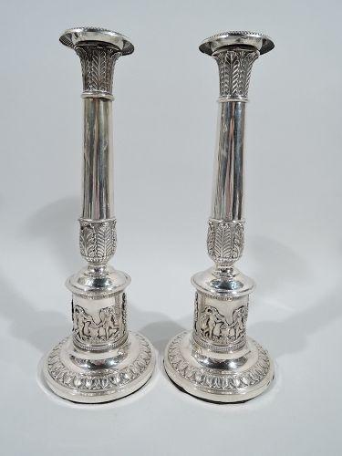 Pair of German Biedermeier Classical Silver Candlesticks C 1820