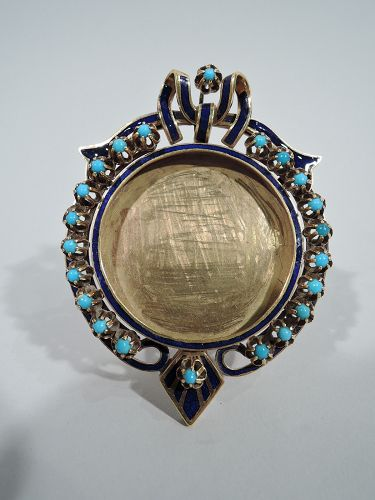 Antique European 18K Gold, Turquoise, and Enamel Boudoir Picture Frame