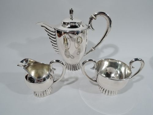 European Art Deco Classical Silver 3-Piece Coffee Set C 1925