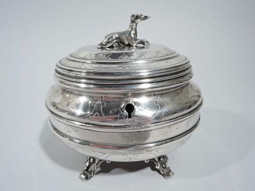 Antique Austrian Silver Casket Box with Greyhound Dog Finial