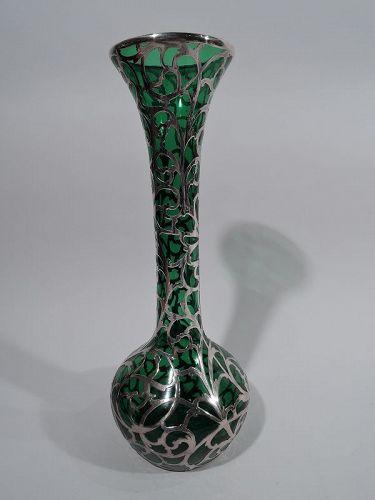 Antique Alvin American Art Nouveau Green Silver Overlay Vase