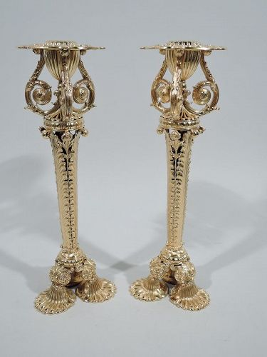 Pair of Tiffany Exuberantly Classical Paris World�s Fair Candlesticks