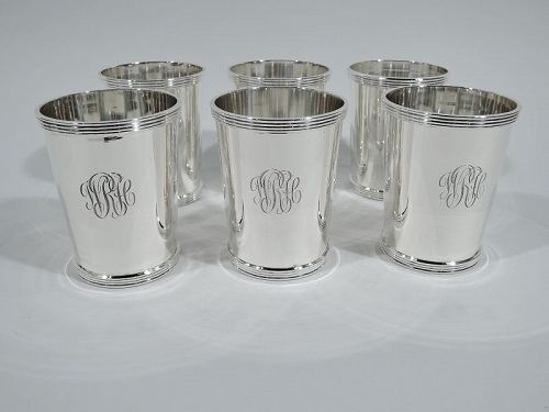 Set of 6 Stieff American Sterling Silver Mint Julep Cups