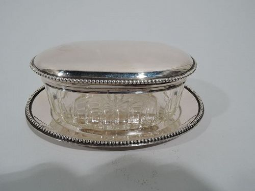 Antique Austrian Classical Silver and Glass Vanity Jar on Stand