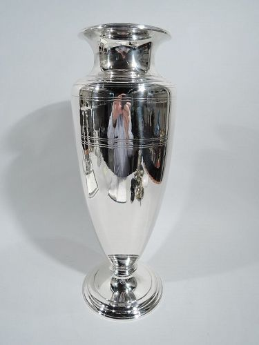 Tiffany Tall Art Deco Classical Sterling Silver Vase
