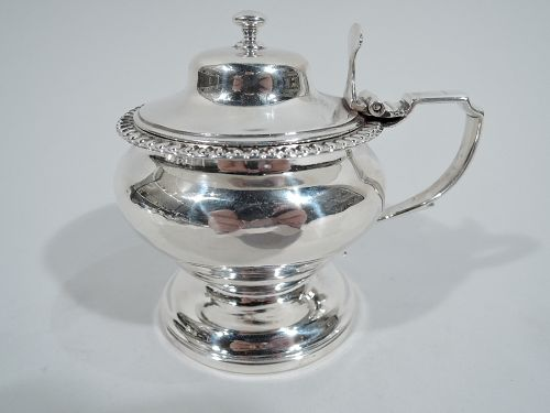 Antique English Georgian Neoclassical Sterling Silver Mustard Pot 1824