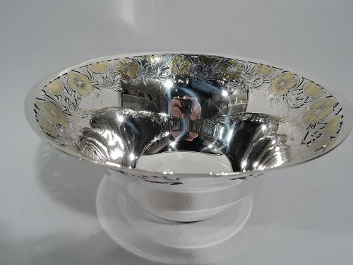 Antique Tiffany Art Nouveau Sterling Silver Bowl with Gilt Flowers