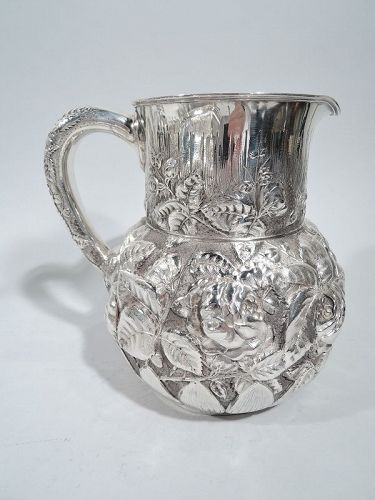 Unusual Antique Tiffany Sterling Silver Flower-Strewn Water Pitcher