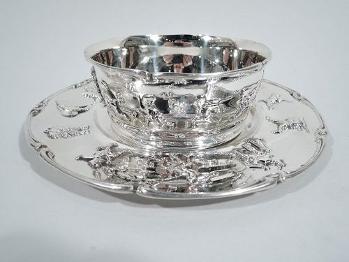 Antique Gorham Sterling Silver Baby Cereal Bowl on Plate 1911