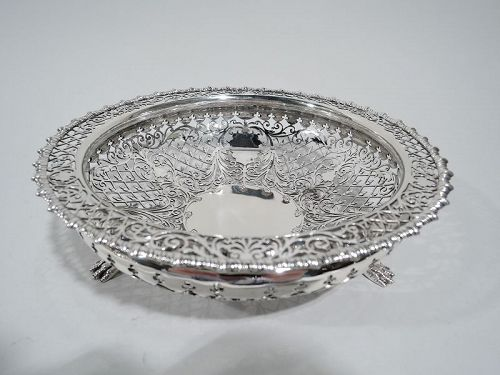 English Edwardian Sterling Silver Openwork Basket by Dixon 1909