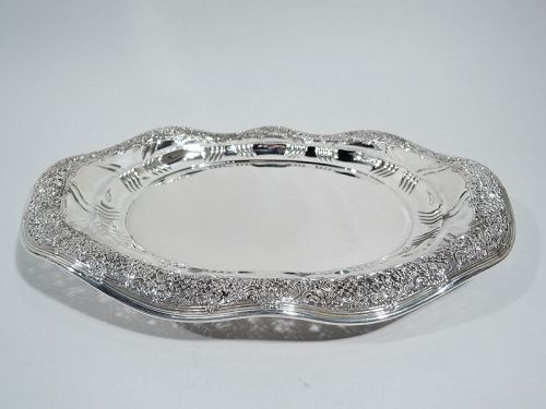 Antique Tiffany Large and Pierced Sterling Silver Platter Tray