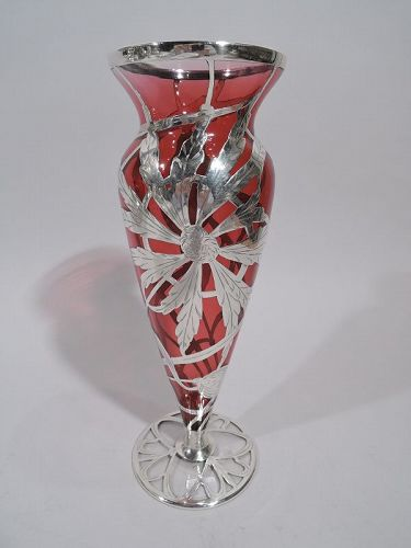 Antique American Art Nouveau Shaded Red Silver Overlay Vase