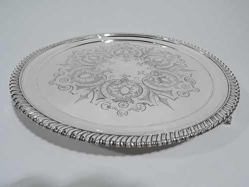 Antique Tiffany Aesthetic Classical Sterling Silver Salver Tray C 1865