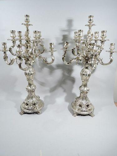 Splendid & Massive French Rococo Silver Gilt 9-Light Candelabra