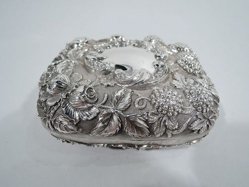 Loring, Andrews Sterling Silver Soap Box with Flowers & Berries
