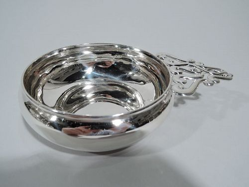 Tiffany Sterling Silver Porringer with Unusual Scroll Handle