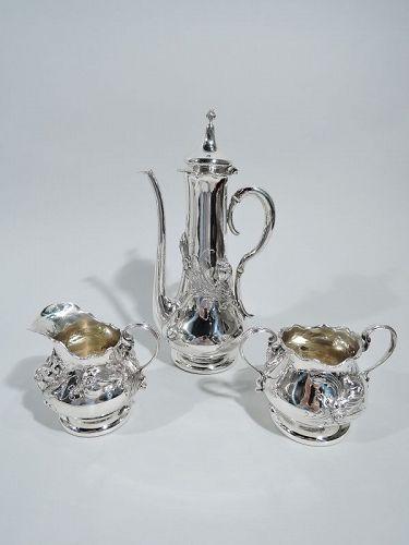 Shiebler Art Nouveau Sterling Silver 3-Piece Turkish Coffee Set