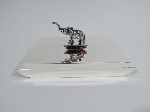 American Art Deco Sterling Silver Box with Elephant Finial