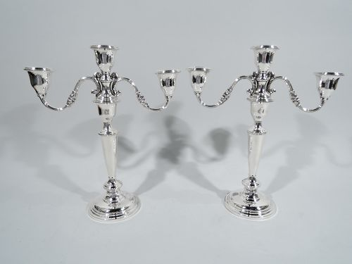 Pair of Reed & Barton Traditional Sterling Silver 3-Light Candelabra