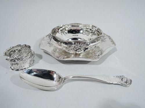 Antique Shiebler American Art Nouveau Sterling Silver 4-Piece Baby Set
